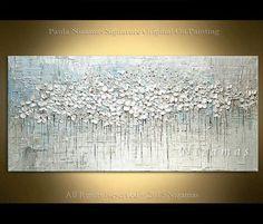 Cuenta con una composición simple, colores suaves y exquisitas flores blancas. Blanco, tonos grises y azules crean un punto focal con estilo para su hogar. ORIGINAL pintura monocromática textura gruesa en lona. Margaritas de pradera Varios tamaños están disponibles. Por favor utilice el