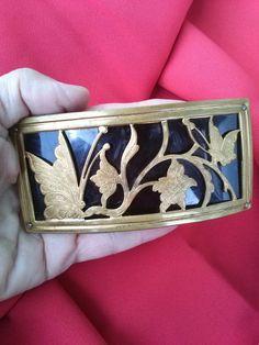 cb834b687866 Vintage 1940s Buckle Brass Black Celluloid Art Nouveau Butterfly Daylily