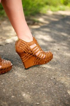 Irresistible Camel Leather Givenchy Platform Open Wedges Absolutely Must Have This Summer.