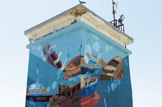 """""""Prisoner of the Sea Part 2"""" by Sat One – view more (nautical) images @ http://www.juxtapoz.com/Street-Art/qprisoner-of-the-sea-part-2q-by-sat-one – #streetart #boattower #satone"""