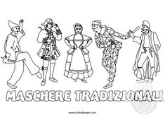 Maschere di carnevale tradizionali da colorare Diy And Crafts, Crafts For Kids, Italian Lessons, Doodle Coloring, Carnival, Doodles, Activities, Comics, School