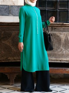 Mother of Pearl Button Tunic – Tunics & Tops – Women Islamic Fashion, Muslim Fashion, Modest Fashion, Fashion Dresses, Hijab Dress, Hijab Outfit, Modest Wear, Modest Outfits, Sharara Designs