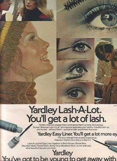 Vintage Beauty and Hygiene Ads of the (Page Vintage Eyeliner, Vintage Makeup Ads, Vintage Beauty, Beauty Ad, Beauty Make Up, Vintage Humor, Vintage Ads, 1970s Makeup, Maquillaje