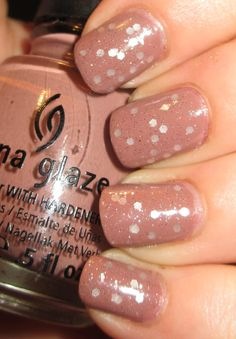 color nude with iridescent dots  nail polish china glaze