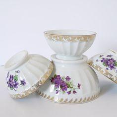 French vintage violette floral cafe au lait bowls set of four
