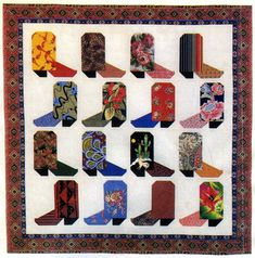 Cowboy boot quilt, pattern on website