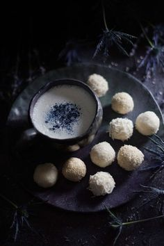 Musings on Mother Moon, plus recipes for delicious vegan moon milk and dream balls to enhance sleep. Musings on Mother Moon, plus recipes for delicious vegan moon milk and dream balls to enhance sleep. Tea Recipes, Dessert Recipes, Desserts, Moon Milk Recipe, Moon Cookies, Chocolate, Healthy Snacks, Healthy Drinks, Healthy Recipes