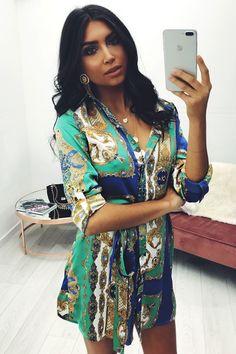 Mollie Green Patterned Satin Shirt Dress