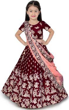 Lehnga Choli For Girls, Kids Lehenga Choli, Silk Lehenga, Anarkali, Silk Dupatta, Sarees, Patiala, Churidar, Salwar Kameez