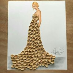 """Empty Feelings"" by Edgar Artis; dress made out of pistachio shells Fashion Design Drawings, Fashion Sketches, Dress Sketches, Creative Artwork, Creative Crafts, Artwork Ideas, Pista Shell Crafts, Pistachio Shells, Fashion Illustration Dresses"