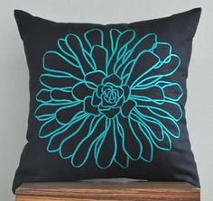 """Teal Chrysant Throw Pillow Cover -18"""" x 18"""" Embroidered Decorative Pillow Cover - Black"""