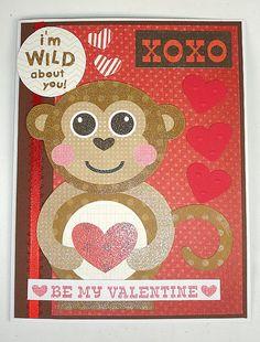 Handmade Wild About You Monkey Valentine Card by txbutterfly74, $4.00