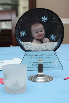 """Snow globe invitation I made for my son's 1st birthday party :) Party theme was """"Winter ONEderland"""""""