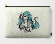 Fantasy art pouch Blue girl pouch Blue fantasy Zipper pouch Coin purse fantasy Gadget Cosmetic Bag Girl Accessory bag artist pencil…