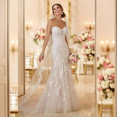 Strapless Mermaid Special Lace Tulle Romantic Wedding Dress Custom Made