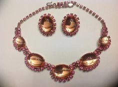 Pink Glass Cabochon and Rhinestone Necklace by SweetBettysBling, $72.00
