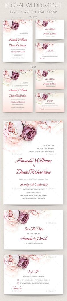 Floral Wedding Invitation Set Template. Download: http://graphicriver.net/item/floral-wedding-invitation-set/11183688?ref=ksioks