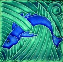 Art Nouveau - Single Blue Fish Tile - home gifts ideas decor special unique custom individual customized individualized Art Nouveau Tiles, Art Nouveau Design, Antique Art, Antique Jewelry, Antique Tiles, Azulejos Art Nouveau, Craftsman Tile, Tile Art, Tile Painting