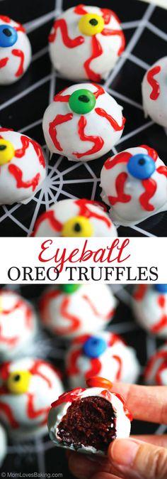 Eyeball OREO Truffles are super creepy and SO YUMMY! Perfect for Halloween! Full recipe on Mom Loves Baking