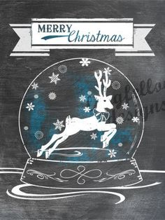Printable Reindeer Snow Globe - Chalkboard Look - 3 x 4 Project Life Scrapbook Size - Digital File