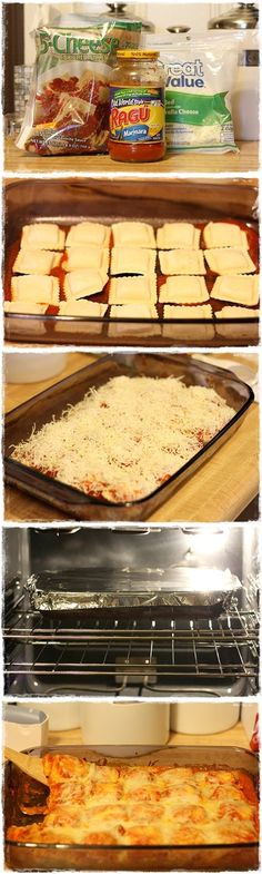 Baked Ravioli- quick, easy dinner: two layers of sauce, frozen ravioli, shredded mozzarella and topped with grated parmesean cheese.  Bake at 400 for 40 covered with foil and another 10 minutes without foil.