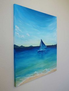 100% original contemporary seascape sailboat tropical painting by Liz W. Created using the finest quality professional grade acrylic paints on gallery wrapped canvas. $367 Title: Sailing Island Waters Size: 30″ x 30″ Medium: Acrylic paint on 3/4″ deep gallery wrapped canvas.  All sides painted – no frame necessary. Artist Signature:  Signed on the front and back of the painting. Certificate of Authenticity included. #art #artwork #paintings #lizw