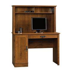 Sauder 404961 Harvest Mill Computer Desk W/Hutch, Abbey Oak Finish for sale online