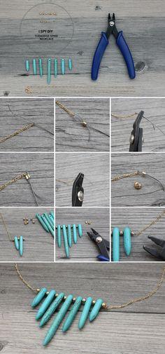 I Spy DIY: MY DIY   Turquoise Spike Necklace