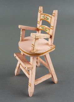 TYNIETOY Vintage Baby High Chair Pink Painted Tynie Toy Dollhouse