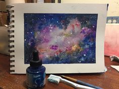 Watercolor Night Sky, Deep Space, Night Skies, Galaxies, Drawings, Painting, Art, Outer Space, Art Background