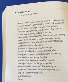 """""""Ravenous Blue"""" by Jan Beatty from her new and collected poems, Jackknife"""