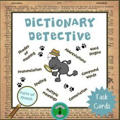 These Dictionary Detective task cards are a great way to give dictionary practice beyond just the basic skills. With these cards, your students will explore the dictionary to find a way to solve each task. They are also perfect for English language learners!