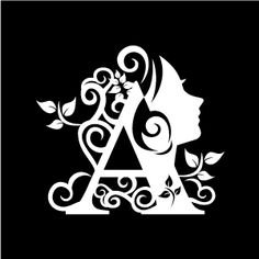 Graphic Design of Flower Clipart - White Alphabet A with Black Background