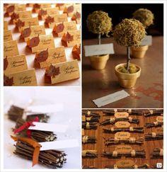 mariage automne marque place mini arbre fagot bois