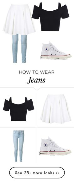 """""""Anyone else think that jeans and skirts look cute together"""" by karlieisapenguin on Polyvore featuring moda, Frame Denim, Topshop e Converse"""