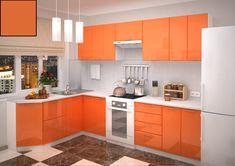 Korpus je z lamina vo farbe wenge s 3D štruktúrou dreva. Hrany sú opatrené ABS. Dvierka sú vyrobené z kvalitnej MDF dosky vo farbe oranžový lesk. Kovové úchytky. Kitchen Cabinets Orange, Orange Kitchen, Custom Kitchen Cabinets, Kitchen Cabinet Colors, Cabinet Decor, Kitchen Sets, Kitchen Colors, Kitchen Decor, Art Deco Home