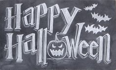 Happy Halloween Chalk Art Sign