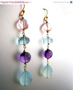 ANNIVERSARY SALE ends 7/15 Rainbow earrings, Gemstone Earrings, In the Garden Earrings, amethyst earrings, chalcedony earrings, quartz earri on Etsy, $115.20