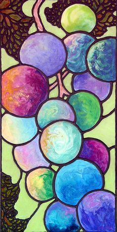 """Grape de Chine"" 12x24 Acrylic with co-polymer pours on gallery wrap canvas ©Sandi Whetzel __sandi-whetzel.artistwebsites.com (Wine Grapes Art)"