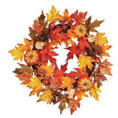 "22"" Maple Leaf Pumpkin Berry Wreath"
