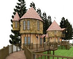 I want one too:  J.K. Rowling Plans Immense Harry Potter Hogwarts Treehouse Playground In Her Backyard.  It includes two treehouses that resemble Hogwarts-like turrets. They are connected by rope bridge and can be accessed by a secret tunnel.