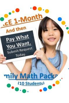 """With """"WE CARE,"""" you get to name your own price for our Family Math Package.  Tell us what you can afford at aplustutorsoft.com/help/wecare.  There is no obligation to buy.  The Family Math Package gives you access to grades 1-6, Pre-Algebra, and Algebra for up to 10 children in the same household.  Not convinced?  Try us for 1 month free!"""