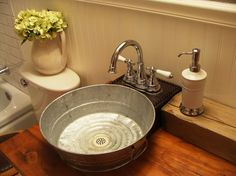 galvanized-tub-sink-Bathroom-Craftsman-with-bathroom-bucket-sink ...