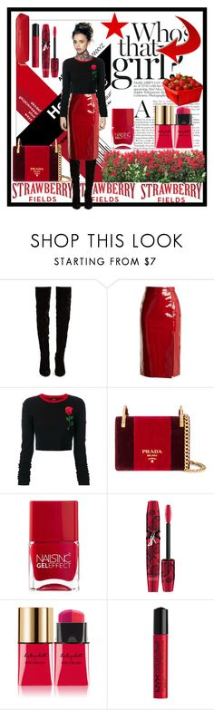 """""""STRAWBERRY FIELDS FOREVER"""" by paula-parker ❤ liked on Polyvore featuring Christian Louboutin, Saloni, County Of Milan, Prada, Nails Inc., Physicians Formula, Yves Saint Laurent, NYX and MANGO"""