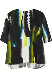 Spray Collage printed crepe top