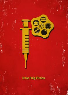 P is for 'Pulp Fiction'. Movie Friday: Alphabet Movie Posters by Meagan Highland #movies #design
