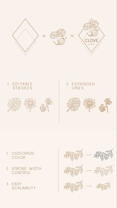 Carefully handcrafted botanical icons and logo templates usable for photographers, bakeries, wedding agency, yoga studio, coffee house, flower boutique, clothing stores, magazines, cosmetics, interior design, creative agency, or any possible creative field. // botanical logo inspirarion, botanical design inspiration #botanicalart #logodesign #botanicallogo