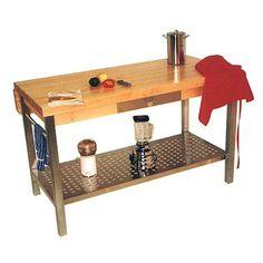 John Boos  Kitchen Island - Work Table w Stainless Steel Shelf (48 in. L x 2.25 in. W x 28 in. H NO Drop Leaf)  $1249.00