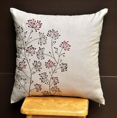 Red Ixora Throw Pillow Cover 18 x18 Embroidered от KainKain