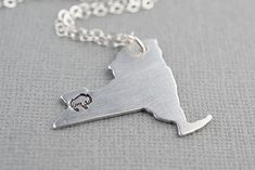 Personalized Buffalo New York State Hometown Hand Stamped Necklace Aluminum by TheCopperFox